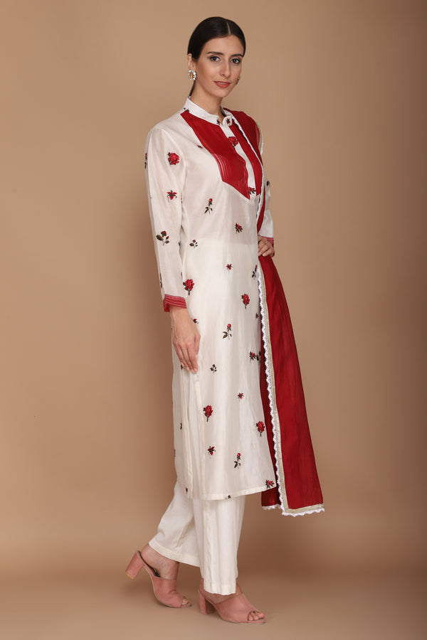 Red Floral Kurta Set