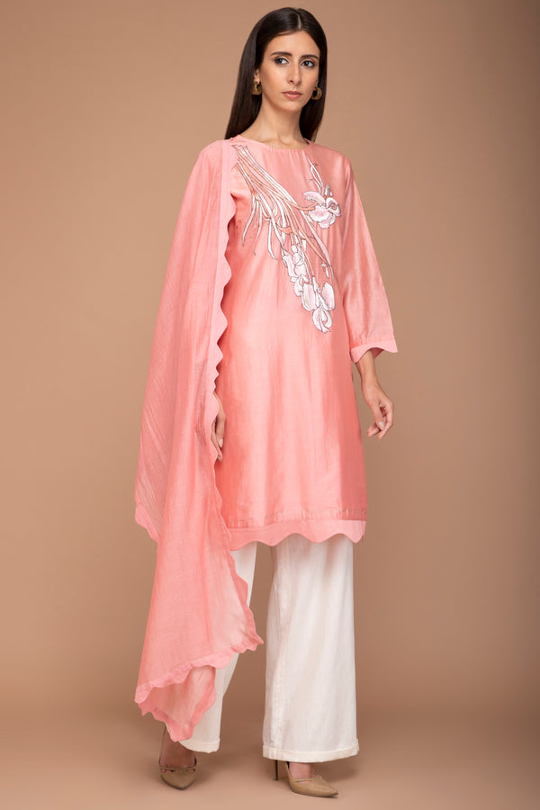 Peach Scallop Kurta Set