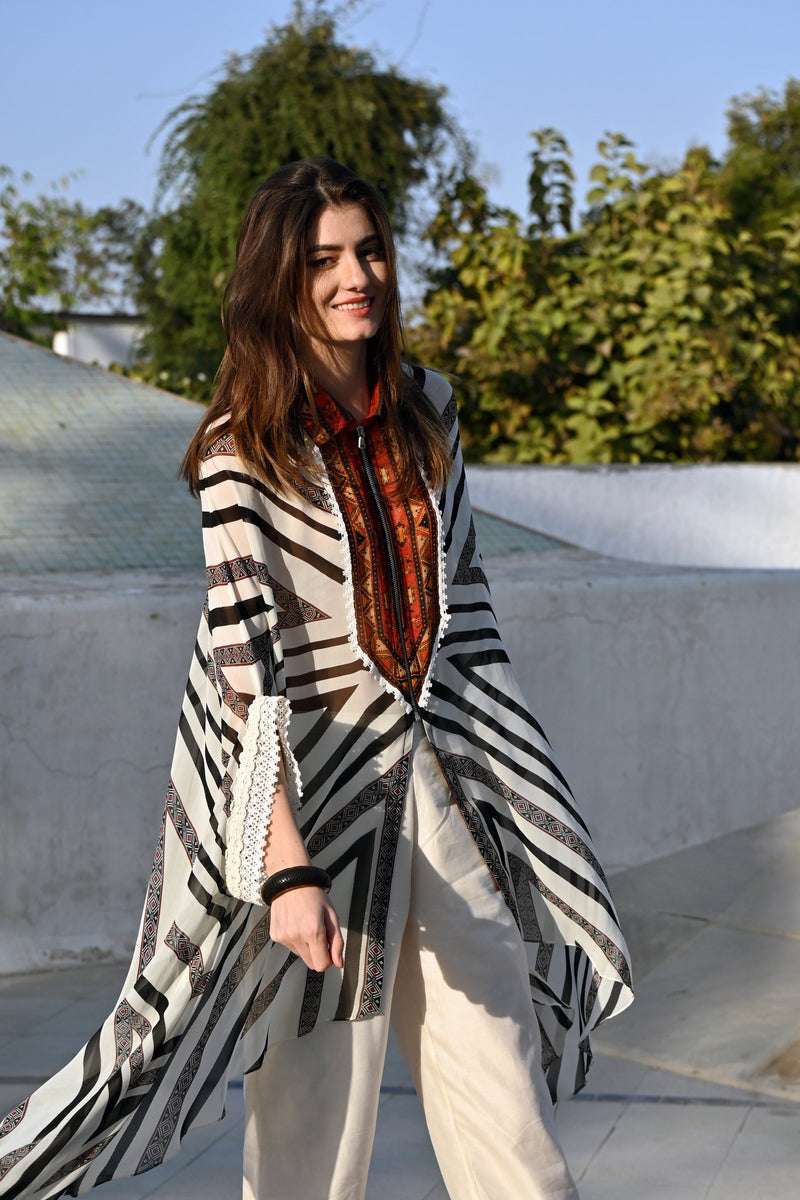 Stripe And Kilim Front Open Tunic