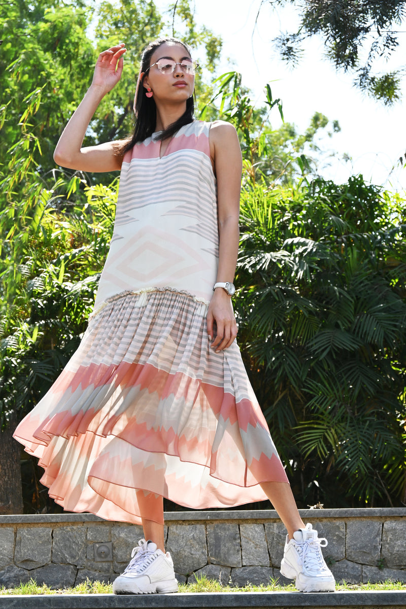 Coral Kilim Printed Georgette Dress