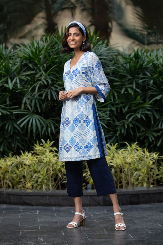 Moroccan Touch Ivory Printed Kurta And Pants Set