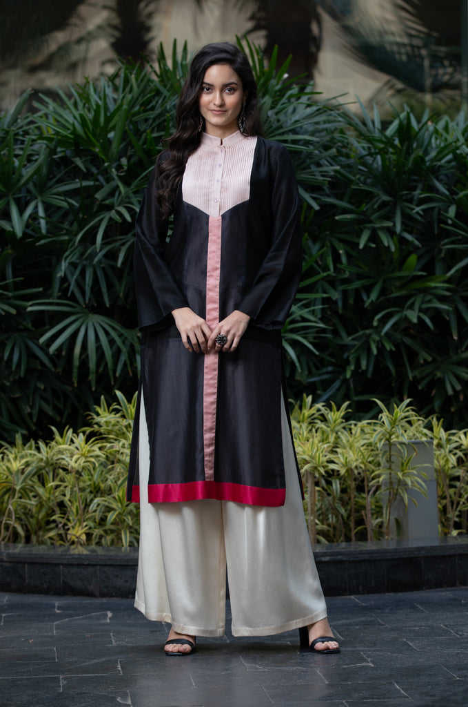 Charcoal Grey Block Kurta