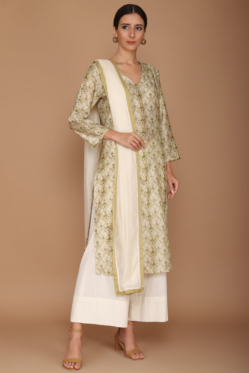 Printed Green Kurta Set