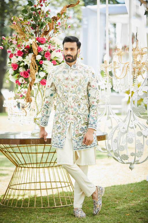 Ivory Emroidered Sherwani Set