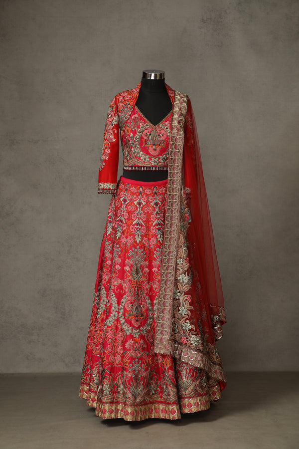 Red & Pink Lehenga Set