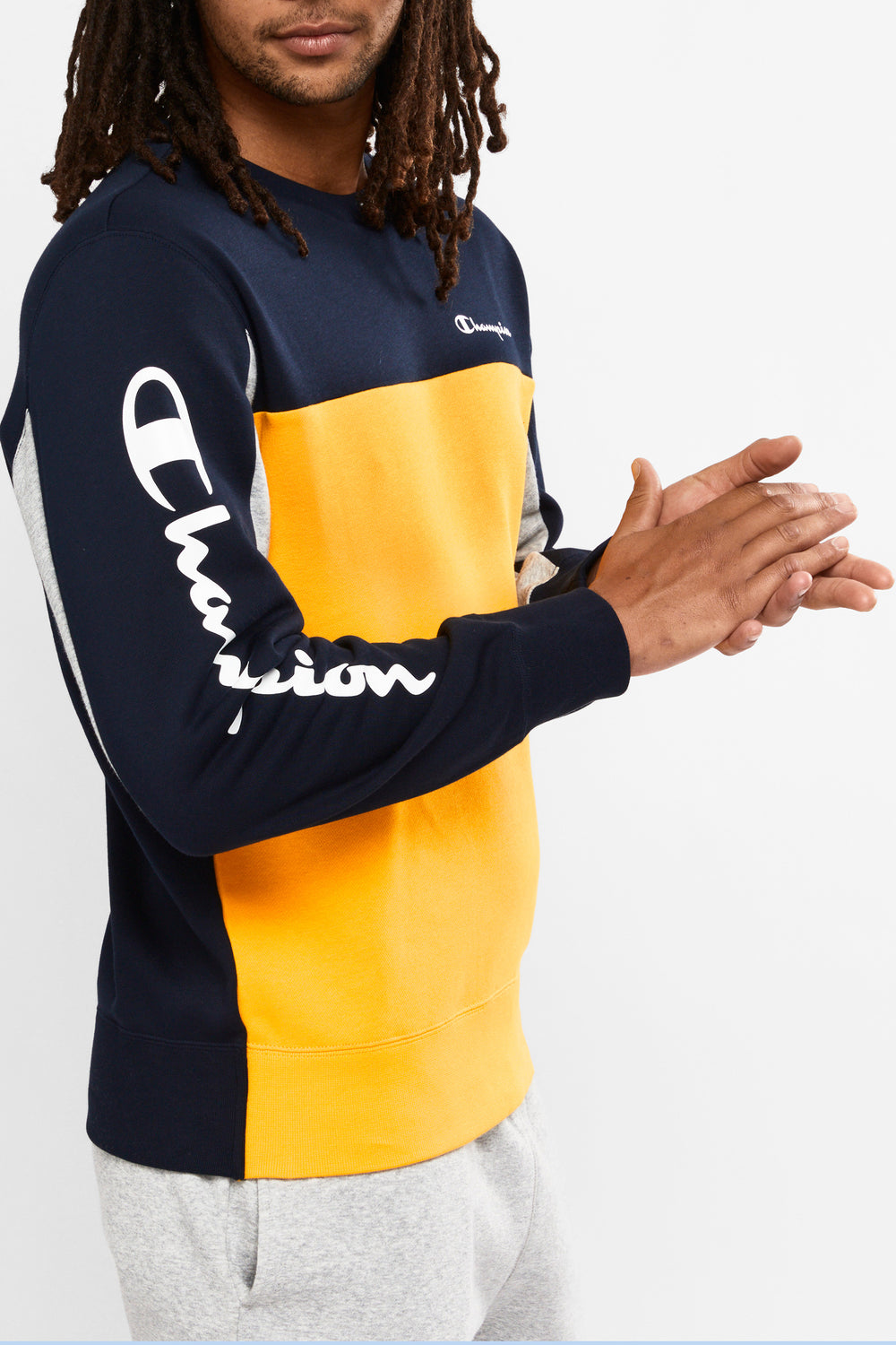Champion Colour Block Crew (M) - Navy/Yellow