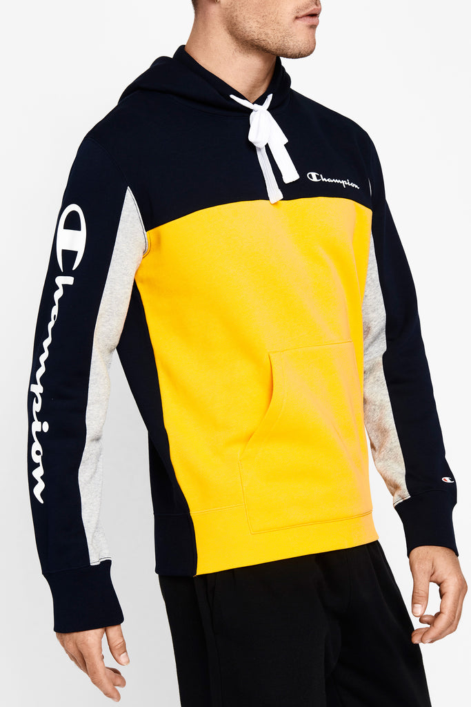 Champion Colour Block Hoodie (M) - Navy/Yellow