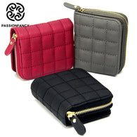 Leather Female Plaid Purses Nubuck Card Holder Wallet Fashion Woman Small