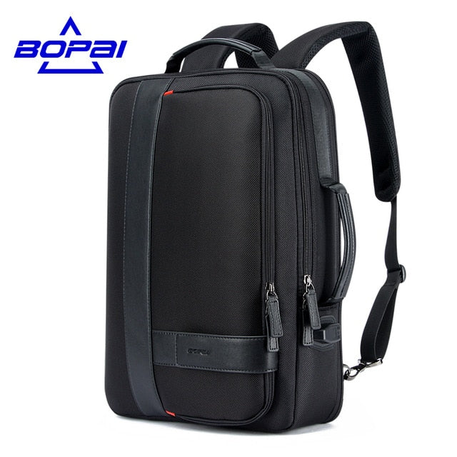 Business Men's Backpack Black USB Charging Anti Theft Laptop Backpack 15.6 Inch