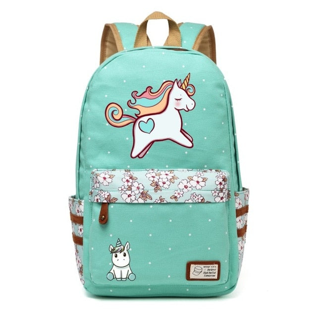 unicorn Dab cartoon Backpack For Women Girls Canvas bag Flowers wave point Rucksacks