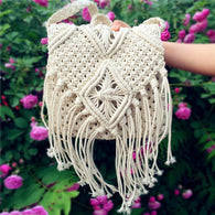 Women Crossbody Bags Crochet Fringed Messenger Bags Tassels Cross Bag