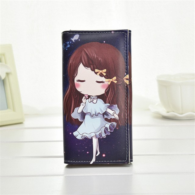 Girl Wallet Cartoon Anime Print Pattern Purses Bag Long PU Leather