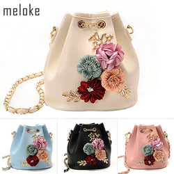 Handmade Flowers Bucket Bags Mini Shoulder Bags With Chain Drawstring Small Cross Bags