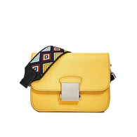 Ethnic Wide Strap PU Leather Women Messenger Bag Highlight Yellow Small Shoulder Bags Ladies Solid Cross Body Bag
