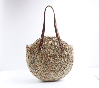 Basket Bag Women Hand Woven Round Straw Bags Natural Oval Beach