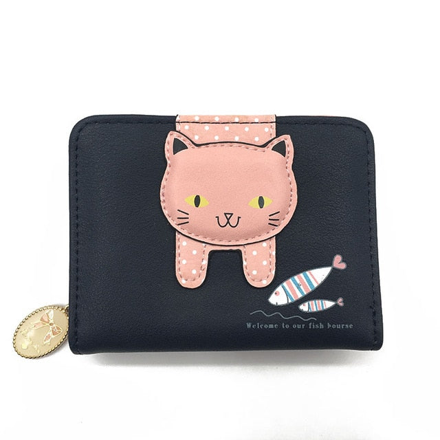 cat wallet small zipper girl wallet brand designed pu leather women coin purse female card holder