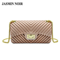Women Silica Small Flap Cross Body Beach Bag Fashion Lady PVC Striped Messenger Bag