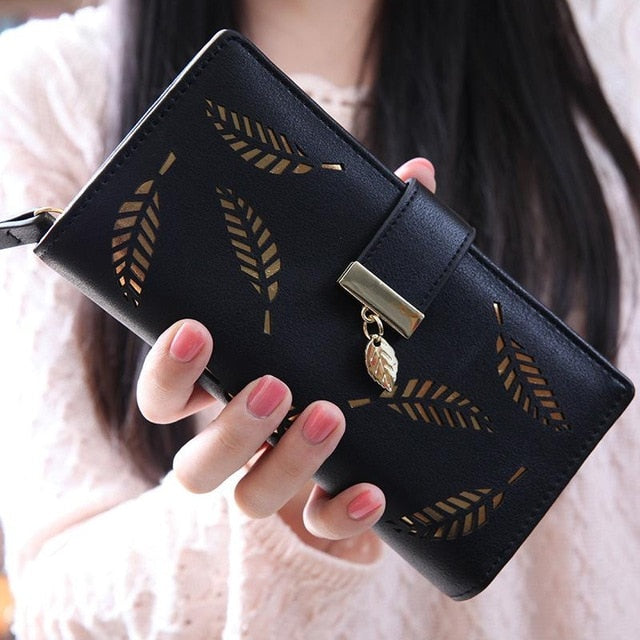 Women Wallet Purse Female Long Wallet Gold Hollow Leaves Pouch