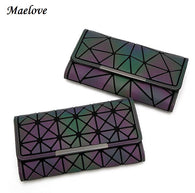 wallet women's clutch handbag  luminous wallet Geometry lattic purse hologram