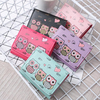 Women Simple Retro Owl Printing Short Wallet Female Vintage PU Coin Purse Card Photo Holders