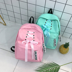 Ribbons School Bags for Teenage Girls Pink Canvas Backpack Korean Student Mini Backpack
