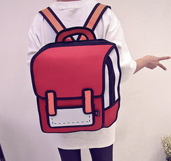 unisex casual backpack   creative knapsack 2D stereoscopic fashion bag cartoon