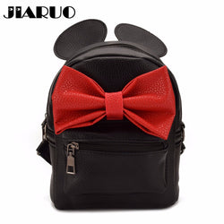 Women Leather Backpack Daily back pack For girl Ladies mouse mini school bag shop bag