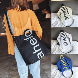 Fashion Women Letter Canvas Messenger Bag Shoulder Bag