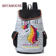 Printed School Backpack For Teenager Drawstring Deisgn Female Travel Rucksack Canvas