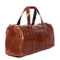 Men leather travel duffel Big vintage crazy horse leather zip
