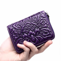 Genuine Embossed Leather Wallet Money ID/Credit Card Holder Small Wallets Famous Brand Female