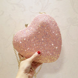 Women Sequin Evening Bag Heart-shaped