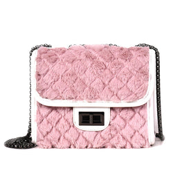 Feminina Winter Faux Rabbit Fur Women Bag Clutch Bag Designer Brand Plush Winter Plaid Handbags Women Crossbody Shoulder Bag