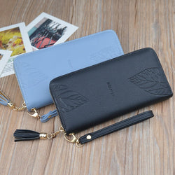 Wallet Female Long Fashion Leaves Solid Color Zipper