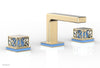 "JOLIE Widespread Faucet - Square Handles with ""Light Blue"" Accents 222-02"