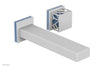"JOLIE Single Handle Wall Lavatory Set - Square Handle ""Light Blue"" Accents 222-16"