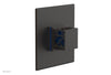 "JOLIE - Thermostatic Shower Trim, Square Handle with ""Navy Blue"" Accents 4-593"