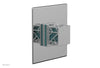 "JOLIE - Thermostatic Shower Trim, Square Handle with ""Turquoise"" Accents 4-593"