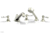 HEX TRADITIONAL Deck Tub Set with Hand Shower - White Marble Lever Handles 500-50