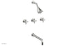 "BASIC Three Handle Tub and Shower Set 14"" Spout - Tubular Cross Handles D2134-14"