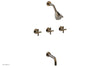 "BASIC Three Handle Tub and Shower Set 7 1/2"" Spout - Tubular Cross Handles D2134"