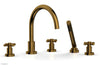 BASIC Deck Tub Set with Hand Shower - Tubular Cross Handles D2134C1