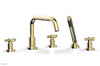 BASIC Deck Tub Set with Hand Shower - Tubular Cross Handles D2136D1