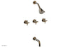 "BASIC Three Handle Tub and Shower Set 7 1/2"" Spout - Blade Cross Handles D2137"