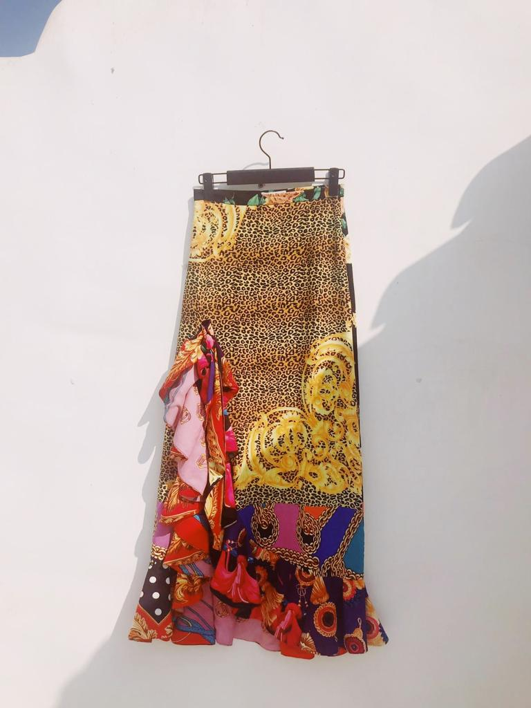 VINTAGE PRINTED SCARFY SKIRT WITH RUFFLES