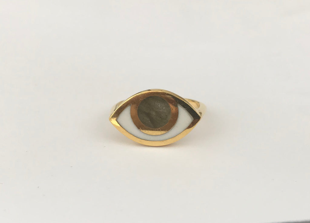 THIRD EYE RING LABRADORITE