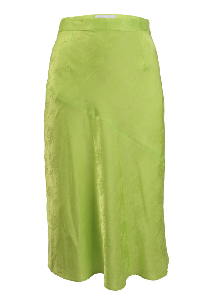 neon green flowing skirt