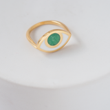 Gold third eye ring- variscite green