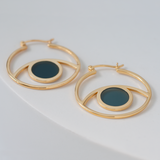 Gold third eye hoops -blue Kokomo glass