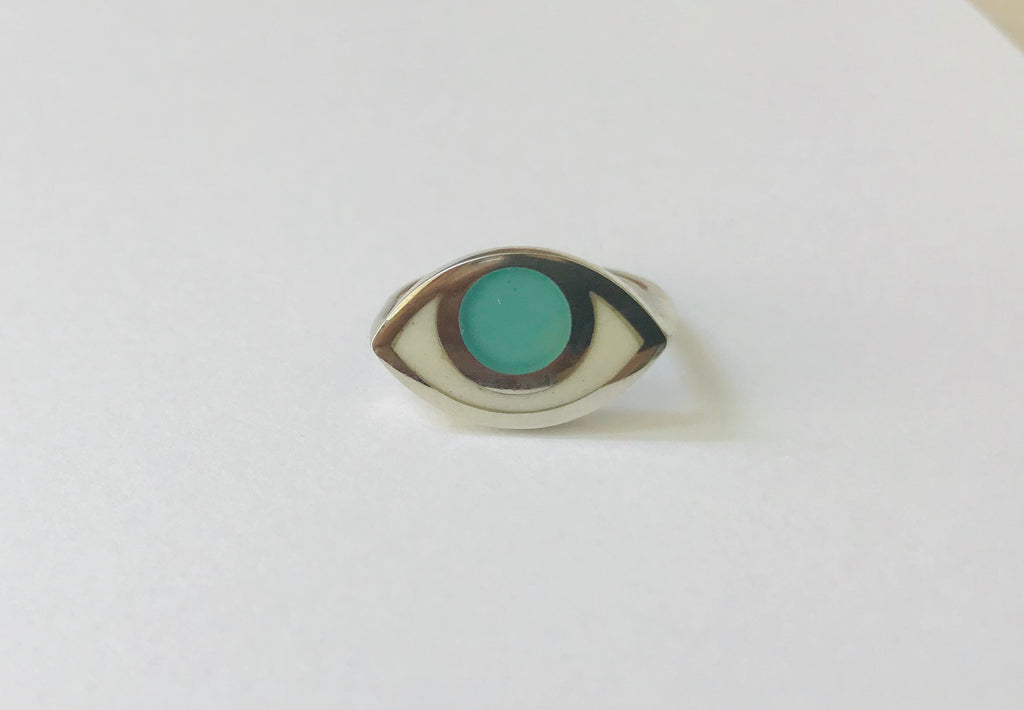Silver third eye ring- blue quartz
